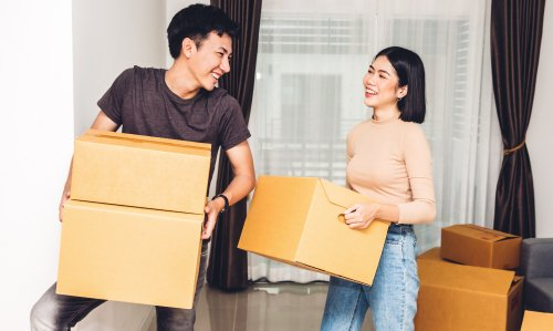 Young home buyers moving into their first home
